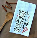 Sugar Spice and a Large Pizza Slice Waffle Weave Kitchen Towels Drying Cloth 16inch X 24inch White