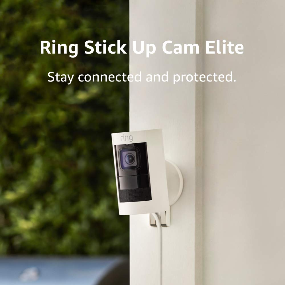 Ring Stick Up Cam Elite, Indoor/Outdoor Power HD Security Camera with Two-Way Talk, Night Vision, Works with Alexa - White