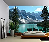 wallpaper canada - Picture Sensations Canvas Texture Wall Mural, Landscape Canada Banff Rocky Mountain Lake, Self-adhesive Vinyl Wallpaper, Peel & Stick Fabric Wall Decal - 144x96