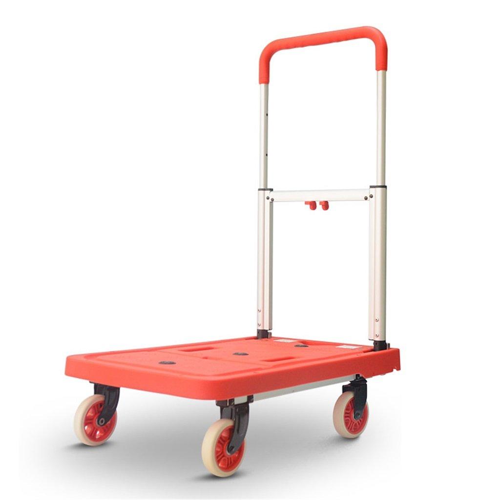 ショッピングカート 家庭用四輪フラットカートハンドトラック折り畳みトロリーミュートポータブルプルトラックロードキングバン3色 (色 : B)  B B07FKT3M22