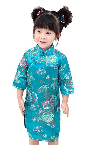 AvaCostume Girls Traditional Chinese Qipao Dress Cheongsam Costume, Bluepeony, 12-14 (Dresses Chinese Chinese Dress)