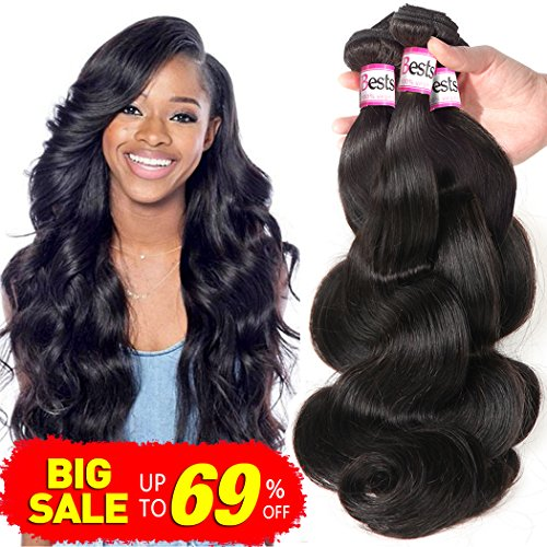 (Bestsojoy 10A Brazilian Virgin Hair Body Wave 3 Bundles Remy Human Hair Weaves 100% Unprocessed Brazilian Body Wave Hair Extensions Natural Color (12 14)