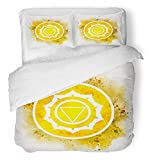 Emvency 3 Piece Duvet Cover Set Breathable Brushed Microfiber Fabric Colorful Meditation Manipura Chakra Symbol Watercolor Sahasrara Spiritual Ajna Bedding Set with 2 Pillow Covers Twin Size