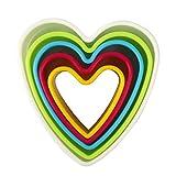 Cookie Cutters, MCIRCO Plastic Cookie Cutters Heart Cookie Cutter Set Heart-shaped Biscuit Cutter Set Multi-size Cookie Cutters Shapes for Kids Multi-color Sandwich Fondant Cutter(Heart)