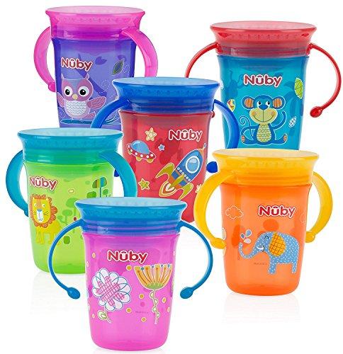 Nuby 1pk No Spill 2-Handle 360 Degree Printed Wonder Cup - Colors May Vary