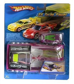 Mattel Hot Wheels - Doble súper lanzador para coches en miniatura, incluye 2 coches Turbo Power, color morado (H6997): Amazon.es: Juguetes y juegos