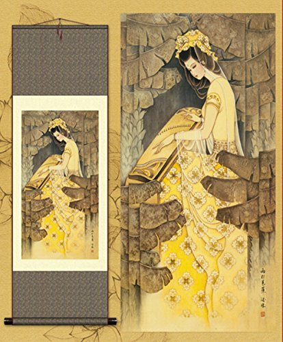 sunmir (TM Silk Scroll Painting Asian Beauty Plantain Watercolour Decorative Paintings Lady Playing Guzheng ()