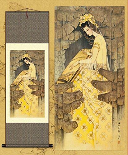 Asian Beauty Playing Guzheng Silk Scroll Painting