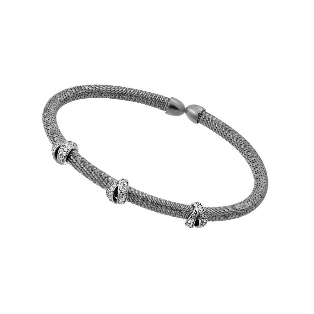 CloseoutWarehouse Clear Cubic Zirconia Three Fashion Design Bracelet Two-Tone Rhodium Plated Sterling Silver