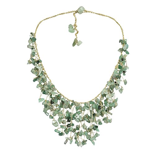 Bib Silk Handmade - Waterfall Simulated Aventurine Braided Silk Handmade Collar Necklace