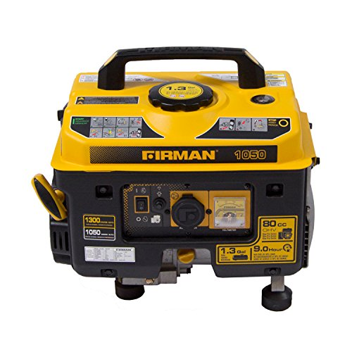 Firman P01001 1300/1050 Watt Recoil Start Gas Portable Generator CARB and cETL Cert, Black