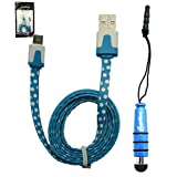 Emartbuy® Polka Dots Range Duo Pack For BLU Studio 5.0 C HD / BLU Studio 6.0 HD - Blue Mini Stylus + Polka Dots Blue / White Flat Anti-Tangle Micro USB Cable
