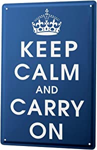 LEotiE SINCE 2004 Tin Sign Metal Plate Decorative Sign Home Decor Plaques Sayings Keep Calm and Carry on Crown Dark Blue Metal Plate 8X12