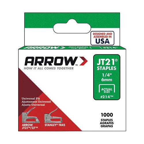 Arrow Fastener 214 Genuine JT21 1/4-Inch Staples, 1,000-Staples