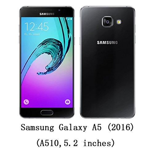 Trumpshop Smartphone Carcasa Funda Protección para Samsung Galaxy A5 (2017) SM-A520 [Naranja] Cuero Genuino Caja Protector con Función de Soporte Ranuras para Tarjetas Crédito Choque Absorción Azul