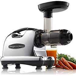 Omega J8006 Nutrition Center Quiet Dual-Stage Slow Speed Masticating Juicer Creates Continuous Fresh Healthy Fruit and Vegetable Juice at 80 Revolutions per Minute High Juice Yield, 150-Watt, Metallic