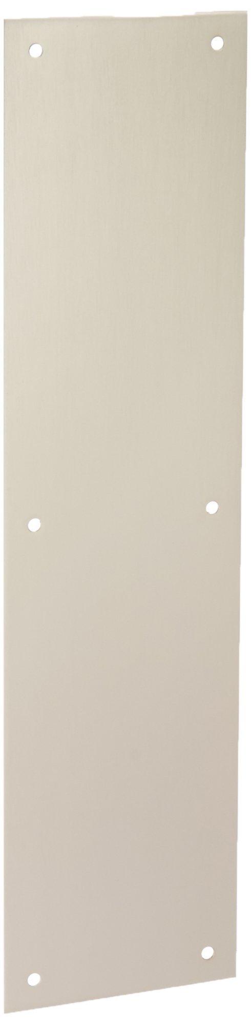 Baldwin 2124 4 Inch x 16 Inch Solid Brass Square Edge Push Plate, Satin Nickel by Baldwin