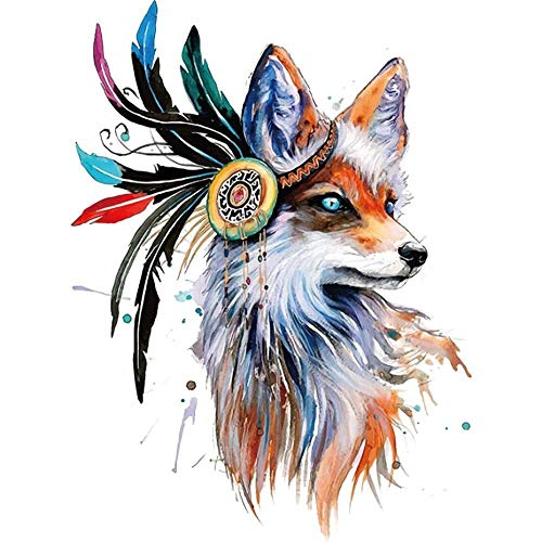 1pc Bohemian Hippie Fox Feathers Wild Animal Acrylic DIY Painting by Number Hobby Kit, Home Wall Picture Decor Arts, Craft On Canvas, Gift -