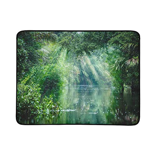 (LIANPEN Scenery in The Primitive Rainforest Pattern Portable and Foldable Blanket Mat 60x78 Inch Handy Mat for Camping Picnic Beach Indoor Outdoor Travel)