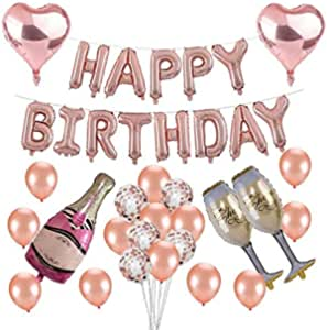 Birthday Party Decoration Rose Gold Aluminum Balloon Baby Aluminum Film Balloon Suit Baby Birthday Party Decorations With Letters(Rose Gold)