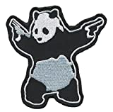 "[Single Count] Custom and Unique (3.5'' x 3.5'') ""Tactical"" Banksy Panda w/ Pistols Embroidered Applique Patch {Black, White, & Grey Colors} [Licensed]"