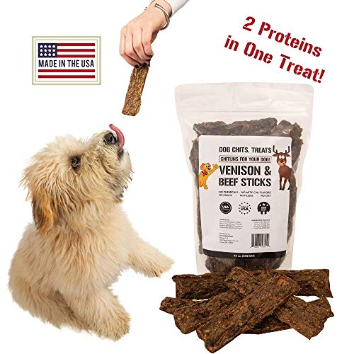 Venison and Beef Sticks | Dog or Puppy Treats | Easy to Chew | Made in USA | Great for Training | for Large and Small Dogs | All Natural Treats | Irresistible Meaty Flavor | 12 oz. (Little Bitz Sweet Potato)