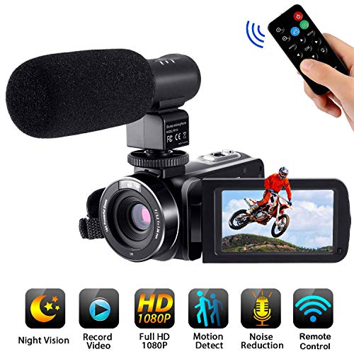 Video Camera Camcorder with Microphone,FamBrow Full HD 1080p 24MP IR Night Vision 3.0 Inch Rotatable Touch Screen 16X Digital Zoom Camera Recorder for YouTube Vlogging,2 Batteries