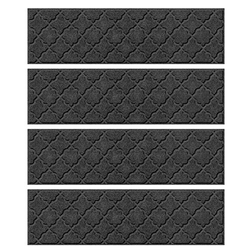 Bungalow Flooring Waterhog Stair Treads, Set of 4, 8-1/2'' x 30'', Skid Resistant, Easy to Clean, Catches Water and Debris, Cordova Collection, Charcoal by Bungalow Flooring