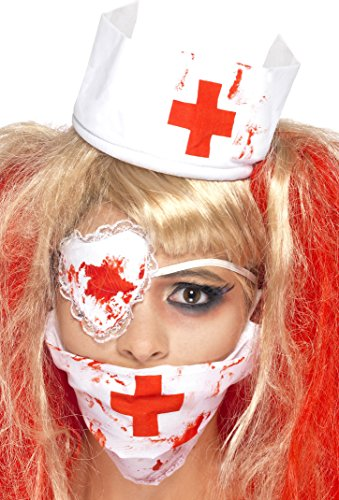 [Smiffy's Women's Bloody Nurse Kit,  Mask, Headpiece & Eyepatch, One Size, Colour: White and Red,] (Red Skull Costume Amazon)
