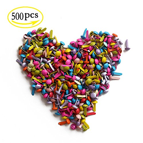 YEJI 500pcs Mini Metal Brad Paper Fastener for DIY Craft,paper crafts 5mm, scrapbooking, card making Mixed Color by YEJI