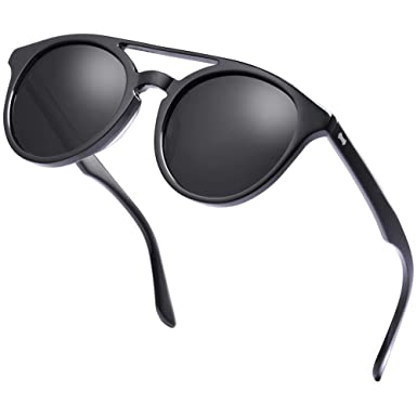 Carfia Gafas de Sol Polarizadas hombre mujer Double Bridge Retro Unisex Estilo gafas Protección UV400 para conducir viajes playa(negro)