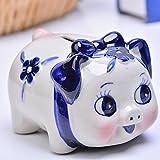 Goodscene Cartoon Piggy Bank Blue Flower Pig Piggy Bank Ceramic Crafts Decoration Children Gift
