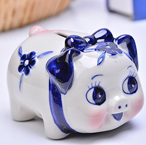 Goodscene Cartoon Piggy Bank Blue Flower Pig Piggy Bank Ceramic Crafts Decoration Children Gift by Goodscene