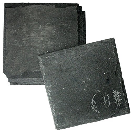 - Engraved Monogram Slate Coasters, Set of 4 - Absorbent Home Bar Coasters, Birthday Gifts, Bridal Shower Gift Set - CSL32