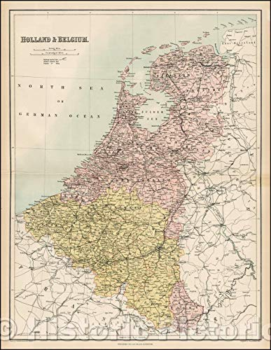 Historic Map | Holland & Belgium, 1869, Adam & Charles Black | Vintage Wall Art 34in x 44in