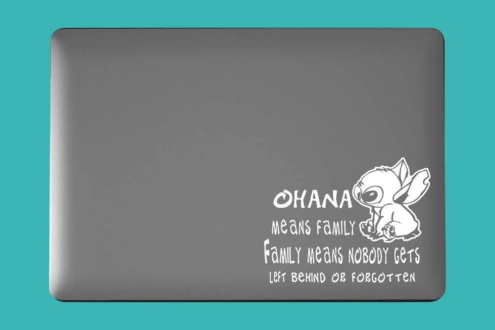 M1 Stitch Inspired Ohana Quote Art Vinyl Decal for Laptop Car Cup Mug Handmade Die-Cut Vinyl Decal Sticker (3.0 inch x 2.4 inch, White)