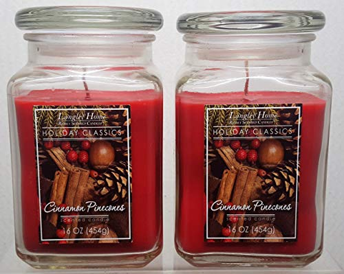 Langley Home Holiday Classic Series 2 Pack 16 oz Glass Jar Candle Cinnamon Pinecones Scent