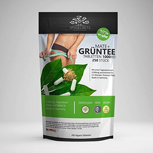 Mate+ Grüner Tee Tabletten. 4000mg Tagesdosis. 100% Vegan. Original-Produkt von SpaSecrets.