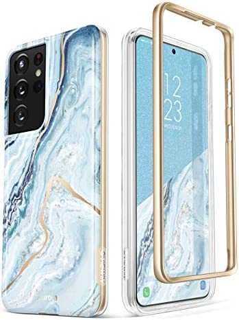 GVIEWIN Compatible with Samsung Galaxy S21 Ultra Case 5G 6.8 Inch, Dual-Layer Drop Protection Shockproof Marble Phone Cover Case Without Built-in Screen Protector (Seasalt/Blue)