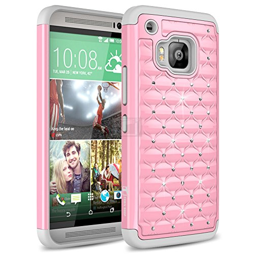 HTC ONE M9 Case, TownShop Grey/ Baby Pink Spot Diamond Studded Bling Crystal Rhinestone Dual Layer Hybrid Cover Silicone Rubber Skin Hard Case For HTC ONE M9 (Htc One M9 Best Price)
