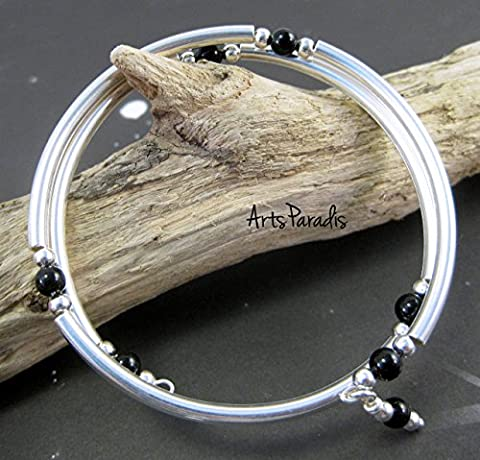 Black Onyx Natural Stone and Sterling Silver-Plated Wrap Bracelet by ArtsParadis - Onyx Stone Bangles