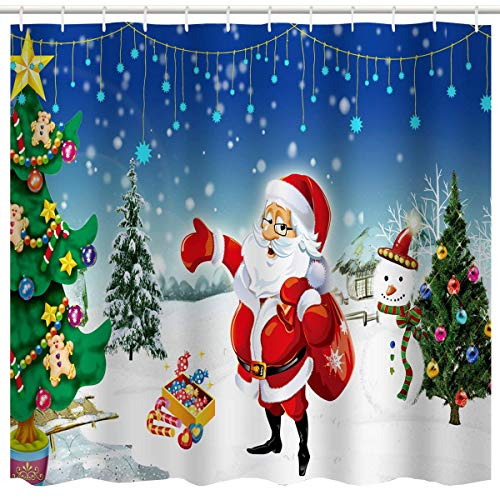 (BROSHAN Christmas Bath Curtain Set, Christmas Santa & Tree with Ornaments Printing, Fabric Christmas Decoration Shower Curtain, 72 x 72 inch, (Christmas Tree and Santa))