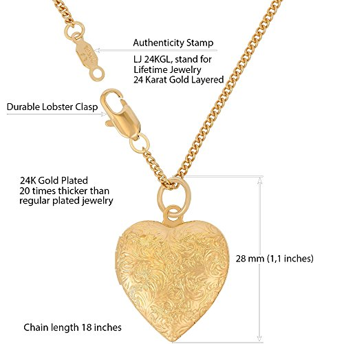 Lifetime Jewelry Heart Locket Necklace, Antique, 24K Gold Over Semi Precious Metals, Guaranteed for Life (Choice of Pendant with or Without Chain) (Gold Locket & Chain) by Lifetime Jewelry (Image #2)