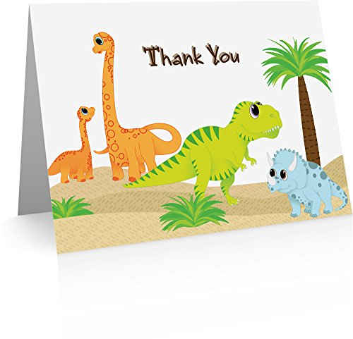 Dinosaur Note Cards (12 Foldover Cards and Envelopes) Kids Thank You - Dinosaur Note