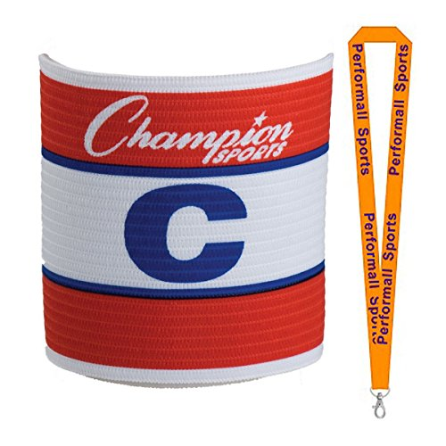 Champion Sports Official Adjustable Captains Armband Red/White/Blue (Set of 2) Bundle ()