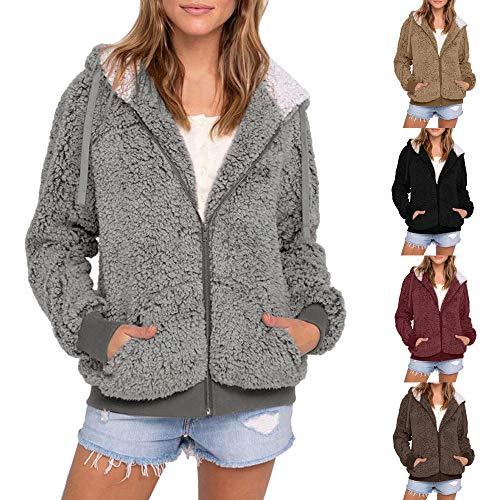 Décontractée Avec Poche À En Fausse Kaki Fourrure Femmes manteau Et Tricot Grande Capuche Cardigan Taille Pour manteau Femmes 1Cx7qxPv