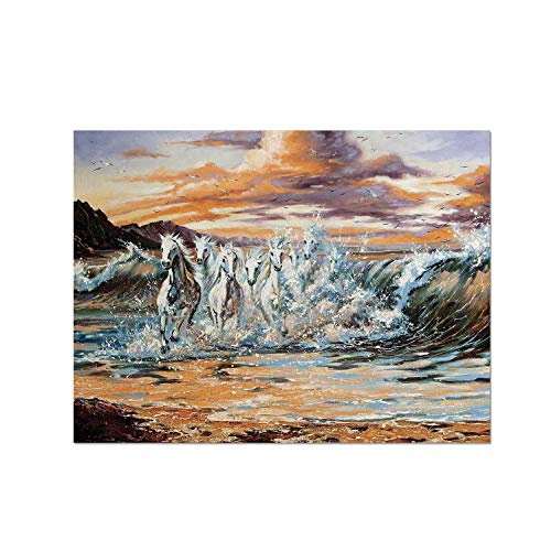C COABALLA Animal Decor Heat Resistant Table Mat,Group of Pacing Horses in The Water with Fantastic Surreal Environment Life Force Retro Paint for Dining,15.7