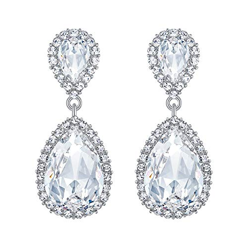 EVER FAITH Women's Austrian Crystal Wedding Tear Drop Dangle Earrings Clear Silver-Tone
