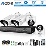 Cheap A-ZONE 4CH 1080P HD-TVI Security DVR Recorder System and (4) 1080P Outdoor Fixed Bullet/Dome Cameras with IP67 Weatherproof Day/Night Vision LEDs, Motion Detection & Email Alert- with 1TB HDD,White