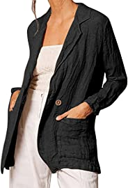 LISTHA Blazers Womens Solid Buttons Long Sleeve Cotton and Linen Pocket Cardigan Loose Suit Coat